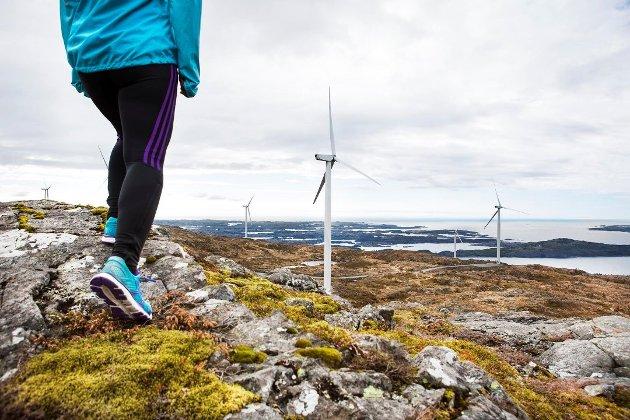 Næraste vindmøllepark til Kvinnherad er på Fitjar. (Pressefoto frå Midtfjellet Vind-kraft: Elisabeth Tønnesen).