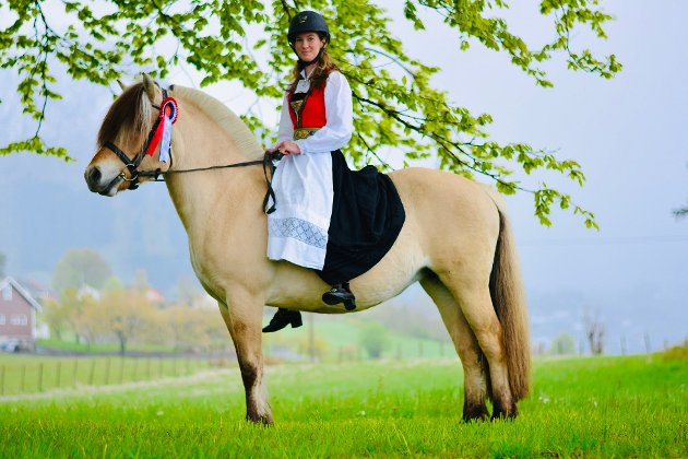 Norges nasjonaldag, nasjonalhest og nasjonaldrakt. Gratulerer med dagen til alle! Hesten på bilete er eigd av Trygve Nes og har 9 års fødselsdag idag! (Foto: Silje Dahl-Gulliksen).