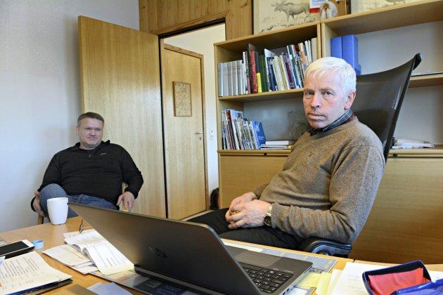Flesbergs rådmann Jon Giæver Pedersen og ordfører Oddvar Garaas. FOTO: CHRISTIAN MAUNO