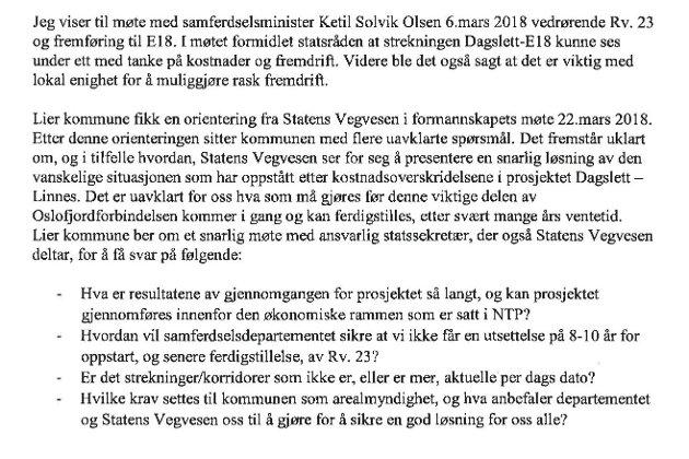 Faksimile: Brevet som ordfører Gunn Cecilie Ringdal sendte til samferdselsdepartementet.