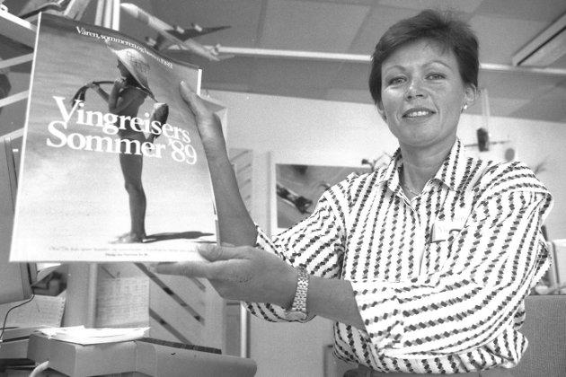 Vingreiser reisebyrå i Moss,  1989.  Anne Kari Throndsen.