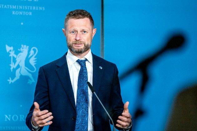 Oslo 20210505.  Helse- og omsorgsminister Bent Høie  (H) under en pressekonferanse om koronasituasjonen onsdag. Foto: Gorm Kallestad / NTB