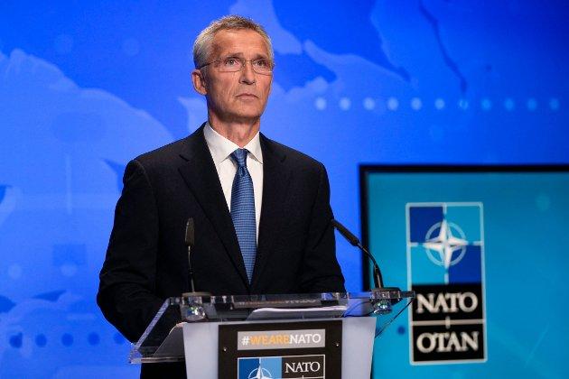 NATOs generalsekretær Jens Stoltenberg under et møte om utviklingen i Afghanistan 20. august.