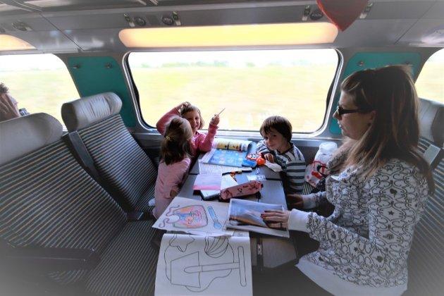 Born har ei betre plass i eit tog ennfastspenti flysete.Det er ikkje underleg at familiar helst vil reise i tog som gjev romsleg plass til å nyte reisa.