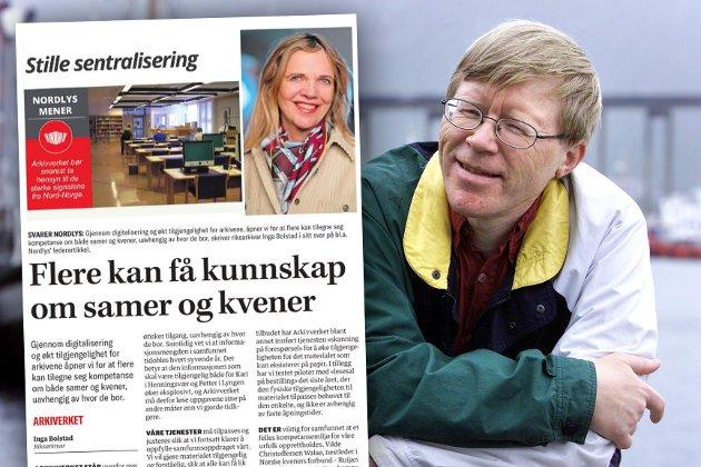 Tromsø-historiker Vidar Eng er ikke enig med riksarkivar Inga Bolstad i at alt blir så mye bedre med digitalisering og sentralisering av arkivverket.
