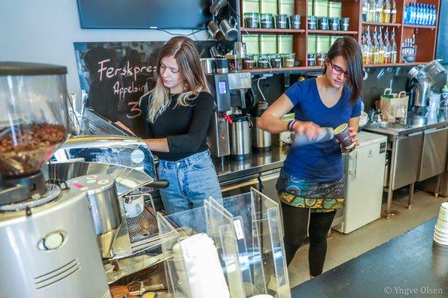 GRUFF: Studentskipnadens kaffebar på UiT er en hyggelig, liten bar i regi av Studentsamskipnaden som få tromsøværinger kjenner til - om de ikke er studenter eller en av de mange som jobber ved UiT.  To røde sofaer, 12 barkrakker og god kaffe. Bak disken styrer Jenny Carbonell og Martine Posti med å slukke kaffetørsten til både studenter og ansatte.