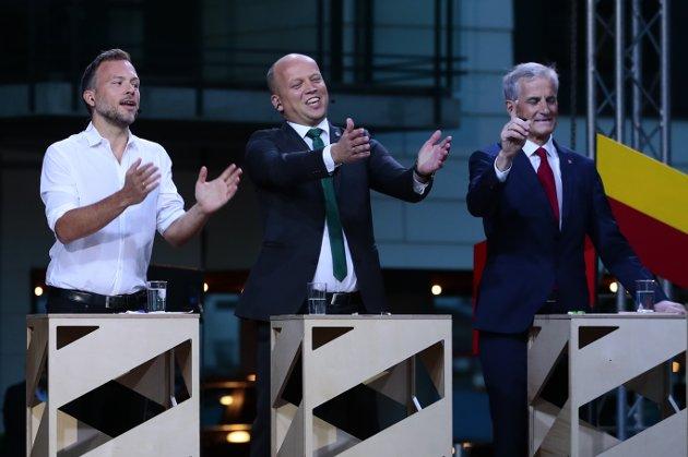 Audun Lysbakken( SV), Trygve Slagsvold Vedum (Sp) og Jonas Gahr Støre (AP) under partilederdebatten fra Arendalsuka mandag kveld. Foto: Håkon Mosvold Larsen / NTB scanpix
