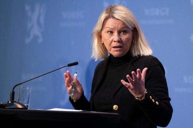 Oslo 20200414.  Justis og beredsskaposminister Monica Mæland,  på den daglige pressekonferansen om korona-situasjonen. Foto: Terje Pedersen / NTB scanpix