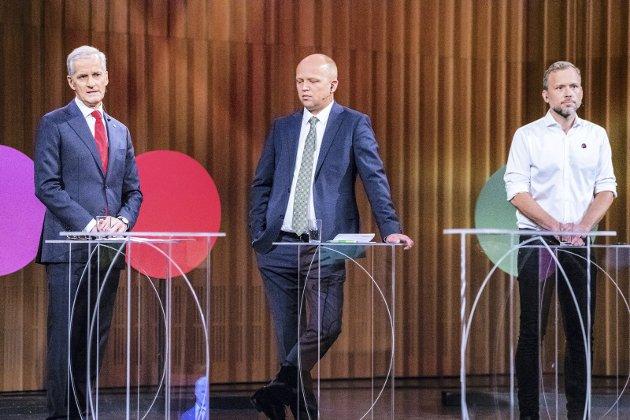 SPRAKK: Sonderingsforsøket mellom Jonas Gahr Støre Ap), Trygve Slagsvold Vedum (Sp) og Audun Lysbakken (SV) førte ikke fram. Foto. NTB