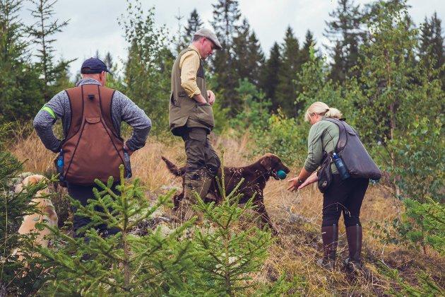 F.v.: Line Moen tar imot «fuglen» på «orrfugl jakta» mens Dommer Paul O'Brien observerer mottaket.
