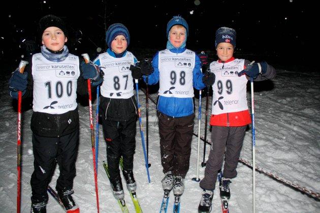 TOPP FIRE: Fra v.:  Emil Støten, Mikael Fjeld, Thomas Reinfjord og Anton Lier fikk alle topplasseringer etter 2,5 kilometer i løypa. (2010)