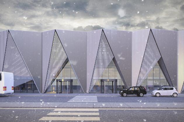 STEINBEKKHAUGEN: Slik skal terminalbygget på flyplassen på Hauan se ut. Samtidig har man fått vite at det offisielle navnet er Mo i Rana lufthavn, Steinbekkhaugen. Foto: Nordic–Office of Architecture