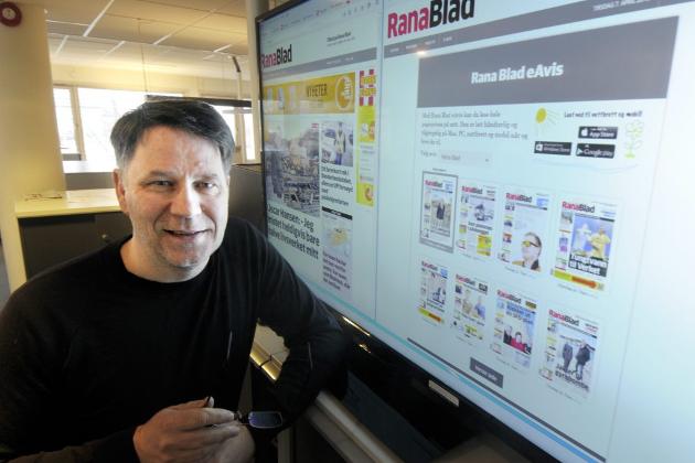 Sjefredaktør Tore Bratt i Rana Blad. Foto: Harald Mathiassen