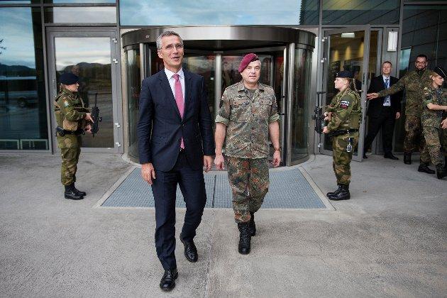 NATO-sjef Jens Stoltenberg, her ved fra NATO-basen i Stavanger.  Foto: Carina Johansen / NTB scanpix