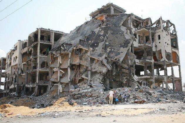 Dette bildet viser det utbombede nabolaget Shejaia øst i Gaza City etter omfattende bombeangrep.