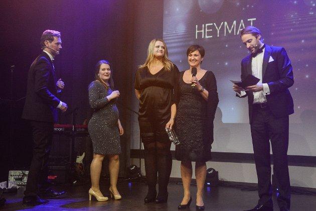 Heymat vant pris i begge kategoriene de var niominert i. Her under mottakelsen av fagprisen for beste design.