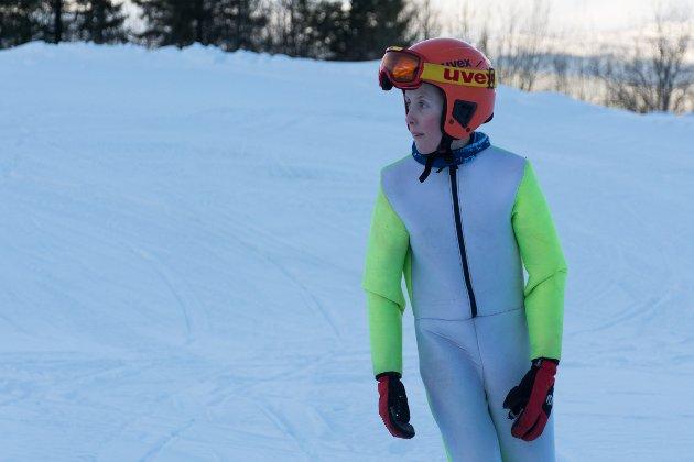 Ludvig Røberg (13) var første hopper i K40 i Fageråsbakken.