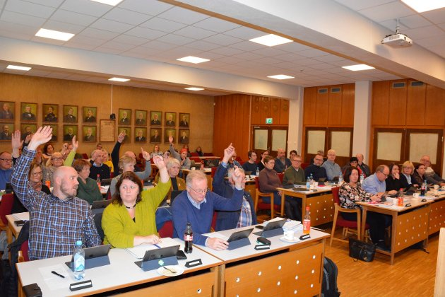 Uenige: Odd-Amund Lundberg (til venstre) lurer på hva politikerne i Ap tenker om skoleutredningen som nå rir bygdene i Nordre Ringsaker. Her fra et tidligere møte i kommunestyret.