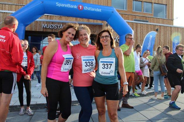 Klare:  Kari Røste Sollerud, Inger Lundby og Berte Helgestad klarte å nå målet sitt, som var å komme seg til toppen av Mjøstårnet. -Det var var tyngre enn forventet å løppe opp alle trappene, men vi klarte det, sier de glade.