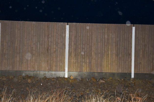 Støyskjerm, langs E6 i Brumunddal.