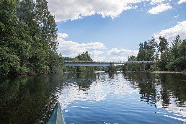 Hvalsmoen: Kanoen ble satt ut ved Hvalsmoen og elva hadde ingen skumle eller store stryk.