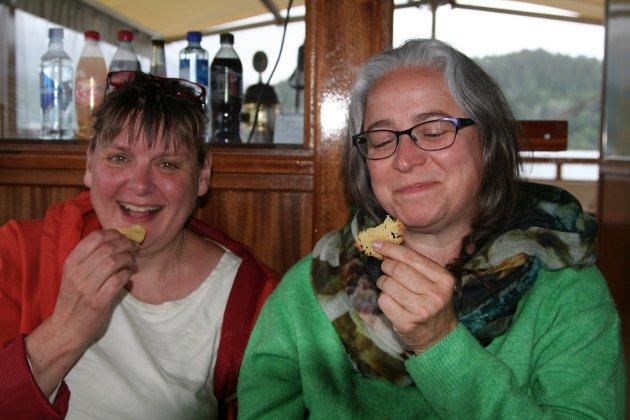 Venninnene Susanne Schakenda Wiente og Inge Lauwers hadde en storartet kveld på cruise.