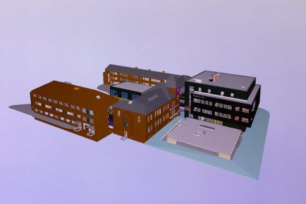 RINGERIKE VGS: Bygninger fra fem ulike tidsepoker, er knyttet sammen. Fra 1886 til 2020.