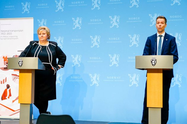 Statsminister Erna Solberg og samferdselsminister Knut Arild Hareide