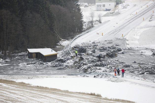 Dagen etter at tre mennesker omkom i leirskredet i Sørum, begynte redningsmannskapene å søke med hund i skredområdet.