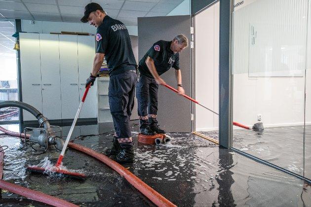 Oversvømmelse i DNBs lokaler i Portalen i Lillestrøm.
