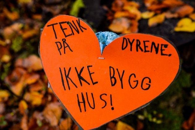 Barna i nærområdet har hengt opp hjerter og plakater i Rødsåsen.