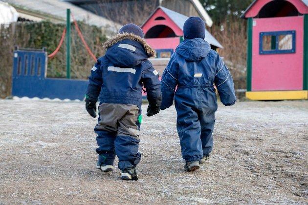 «Barnehage skal ikke være butikk! Vi må sikre at fellesskapets penger og foreldrebetaling går til barna og ikke til profitt for kommersielle aktører», skriver Rødt-politikerne Jan Petter Bastøe og Espen Øksne i dette innlegget. (Illustrasjonsfoto: Gorm Kallestad, NTB)