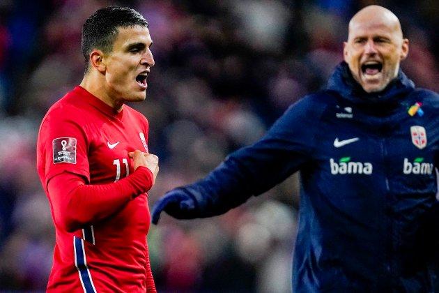 FANTASTISK: Mohamed Elyounoussi spilte en fantastisk kamp da Norge slo Montenegro 2-0. Landslagssjef Ståle Solbakken fikk to mål av den 27 år gamle sarpingen.