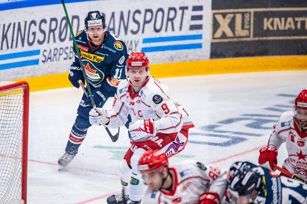 Spartas spiller Kristian Jakobsson og Andreas Benjamin Heier i kampen mellom Sparta og Stjernen.