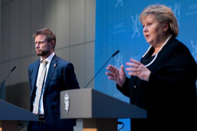 Helse- og omsorgsminister Bent Høie og statsminister Erna Solberg er blant dem som skal prate på dagens pressekonferanse.. Foto: NTB scanpix