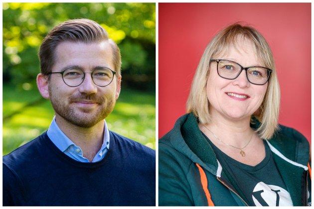 Klima- og miljøminister Sveinung Rotevatn (V) og stortingskandidat Lena Landsverk Sande (V)