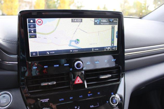 FLOTT MULTIMEDIA: Den nye infotainmentskjermen i Hyundai Ioniq har imponerende grafikk.