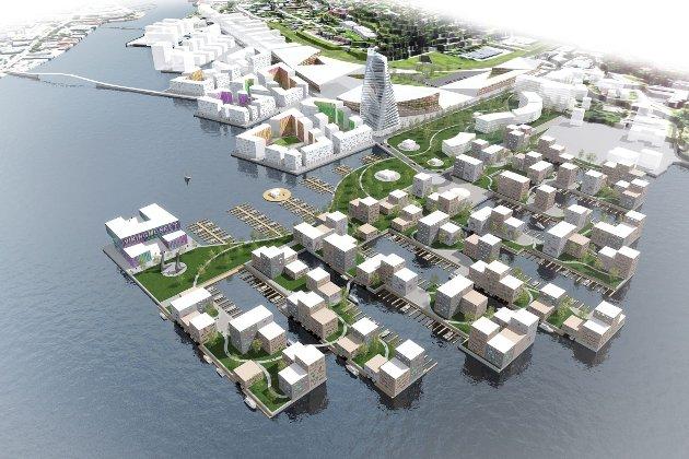 UGREIT: Antall dispensasjoner fra byggeforbudet må drastisk ned, og kommuner må slutte å legge byggegrense nærmere enn 100 meter fra sjøen, skriver artikkelforfatterne. Her illustrert med «Kaldnezia»