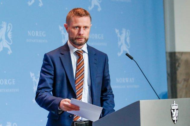 Helse- og omsorgsminister Bent Høie på regjeringens pressekonferanse om koronasituasjonen.