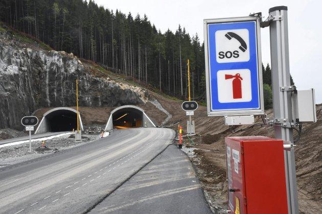 Her ved Rømyr stopper den nye E18 østover i dag. Arbeidet med å videreføre veien frem til Dørdal skjer i rekordfart.