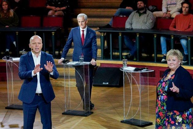 F.v. Sp-leiar Trygve Slagsvold Vedum, Ap-leiar Jonas Gahr Støre og statsminister og Høyre-leiar Erna Solberg.