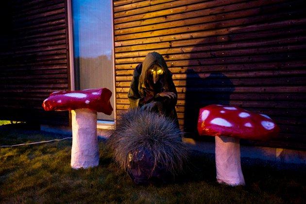Bjørn Kaarud har brukt flere uker på å pynte huset til Halloween. Nittedal