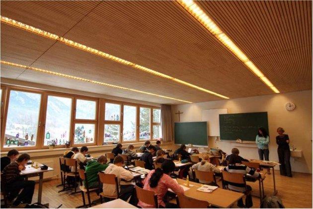 TRE I SKOLEBYGG: Trygve Roll-Hansen skriver at erfaringer fra Østerrike viser at bruk av treverk i klasserom har positiv effekt. Det bør inspirere Ås kommune, mener han.