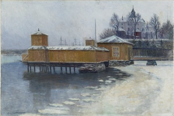 Sølyst badehus ved Akershus slott ble malt av kunstneren Oscar Grønmyra i ca år 1900.