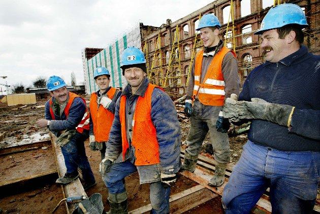 Polske bygningsarbeidere. Illustrasjonsfoto