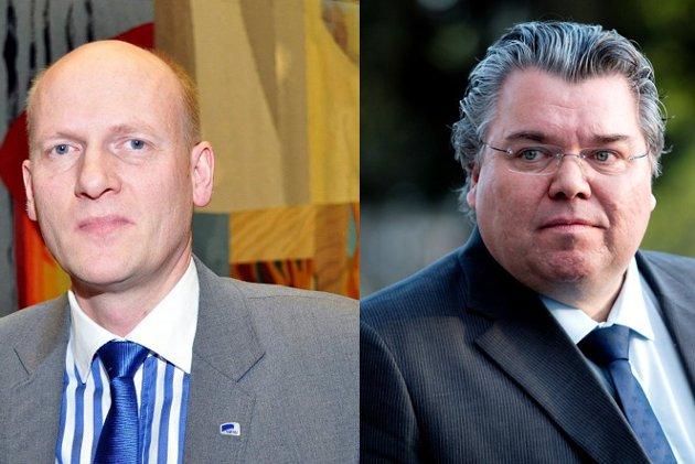 Stortingsrepresentantene Morten Wold (t.v.) og Anders B. Werp får svar fra Halvor A. Hartz.
