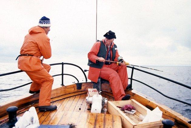 Da det fantes fisk: Havfiskekonkurranse i farvannet rundt Søsterøyene og Struten fyr på Hvaler i september 1988: Ragnar Wallentien og Jan-Erik Ludvigsen fra Fredrikstad Havfiskerklubb var blant deltagerne.