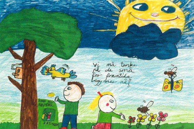 30 ÅR SIDEN: Denne tegningen ble laget av da ti år gamle Marte til en tegnekonkurranse hvor temaet var «Natur og miljø».