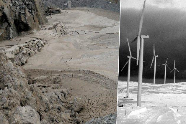 KONTRAST: Naturvernforbundet i Avjovarr mener miljøvennlig vindkraft avhenger av utvinning av mineraler fra gruver som Nussir. På dette illustrasjonsbildet ser man et giftdeponi på gruveområdet til Nussir i Kvalsund. Montasje.