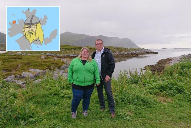 MARKERING: Tor Mikkola og Marita Helen Andreassen i enden av Tore Hunds vei i Gjesvær. (Tegning laget av Tor Mikkola).